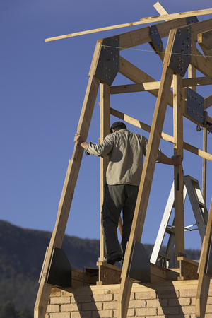roof framing: Building site of a new house in Tasmania, Australia