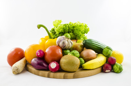 Composition of fresh fruits and vegetables. photo