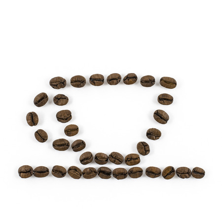 Coffee cup made of coffee beans on white background photo
