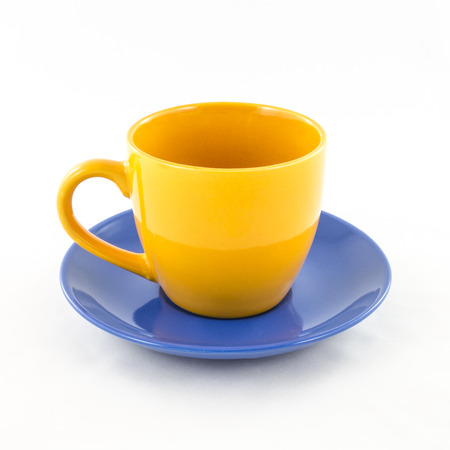 Tea and coffee colorful cup isolated on white photo