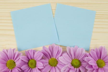 Blank blue cards and pink flowers on wooden background photo
