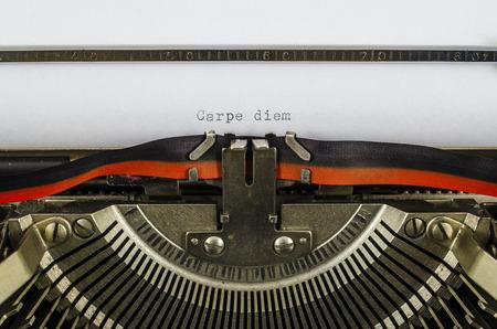 carpe diem: Carpe diem word printed on an old typewriter Stock Photo