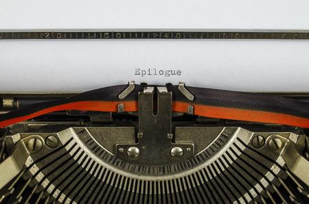 Epilogue word printed on an old typewriter Stock Photo