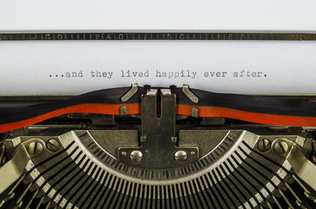 they: and they lived happily ever after word printed on old typewriter Stock Photo