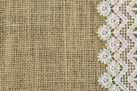 white napkin: Frame of white napkin on linen background