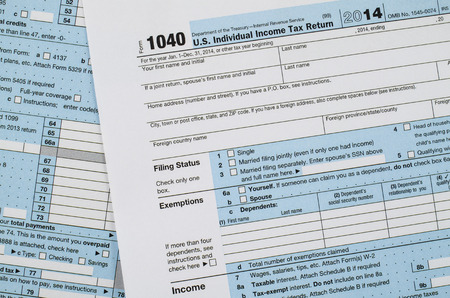U.S. individual income tax return form 1040 Imagens