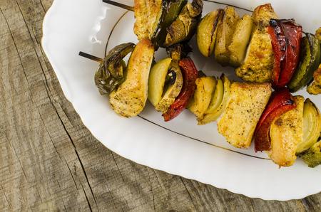 shashlik: Grilled shashlik on wooden table