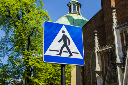 Crosswalk sign with city architecture as a background photo