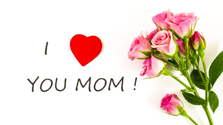 I love you mom with rose flower Stock Photo