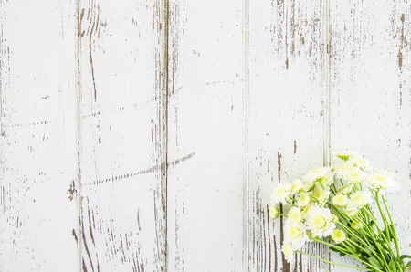 Empty wooden background with flowers Stock Photo