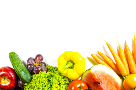 Frame of fresh fruits and vegetables on a white background Archivio Fotografico