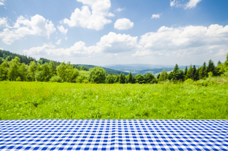 Empty table with landscape background Stok Fotoğraf