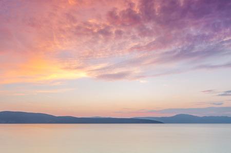 dalmatia: Beautiful sunset over the sea. Dalmatia, Croatia.