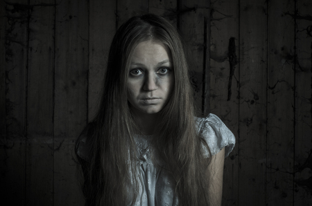 dead wood: Horror girl in white dress
