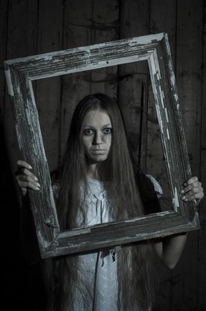 dirty girl: Horror girl in white dress