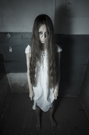 exorcist: Horror girl in white dress