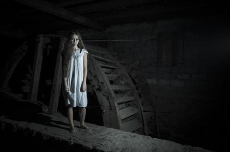 horror movie: Horror girl in white dress