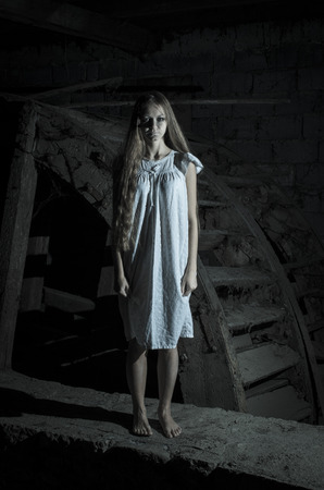 white girl: Horror girl in white dress