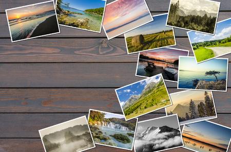 Travel photos on wooden background Stock Photo