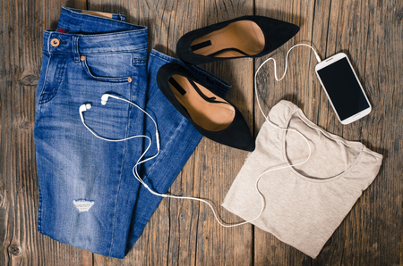 Casual woman clothes. Top view 스톡 콘텐츠