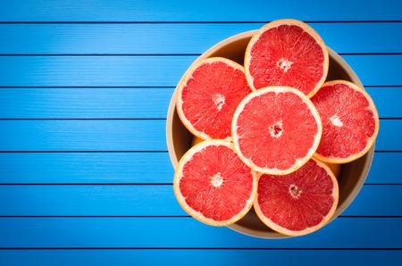Fresh grapefruit in bowl