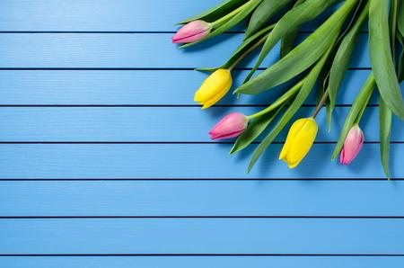 pascuas navide�as: tulipanes de colores en la mesa de madera azul