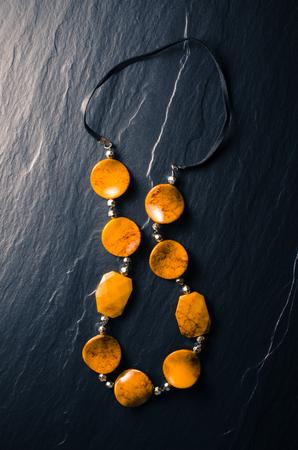 black stones: Female jewelry Stock Photo