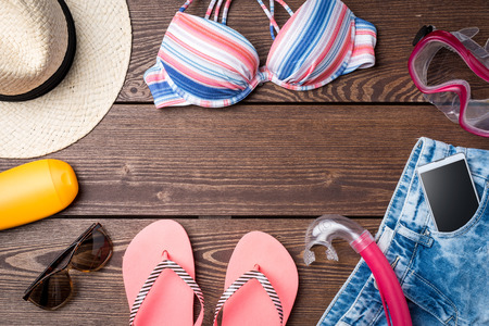 Womens summer clothes background Stock Photo