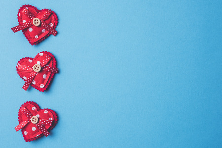 Valentines Days background with red hearts Stock Photo