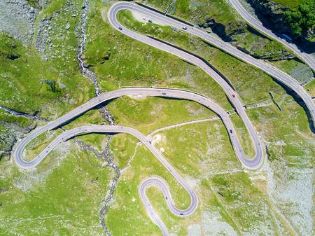 Aerial view of Transfagarasan highway in Romania