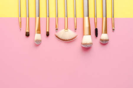 Collection of make up brushes. Flat lay
