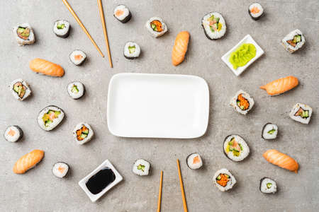 Japanese sushi on stone background. Top view