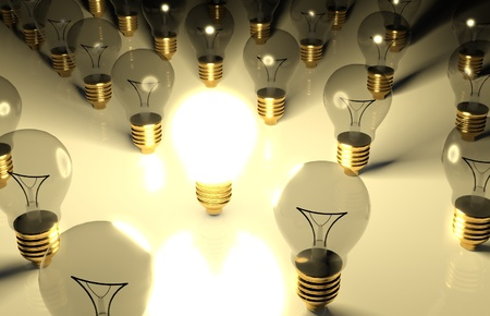 One glowing light bulb and the other light bulbs in rows Stock Photo - 9544307