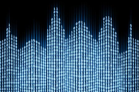 Binaire digitale stad, abstracte 3d tech achtergrond Stockfoto