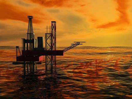 pozo petrolero: 3d de la plataforma petrolera silueta, mar y puesta del sol, Orange Sky