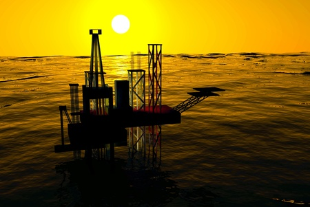 energy crisis: 3d Oil Rig Silhouette, Ocean and Sunset, Orange Sky