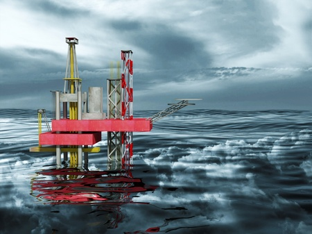 energy crisis: 3d Oil Rig Drilling Platform, Ocean and Dark Clouds