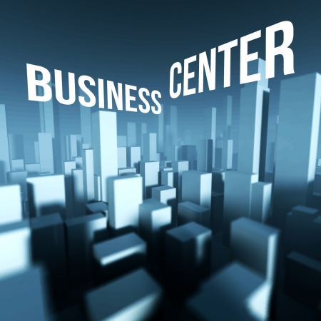 Business center in 3d model of miniature city downtown, Architectural creative concept photo
