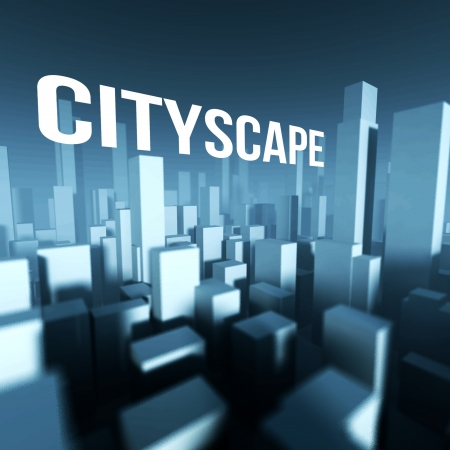 Cityscape in 3d model of miniature city downtown, Architectural creative concept photo