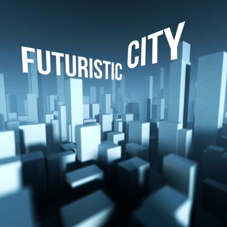 Futuristic city in 3d model of miniature town downtown, Architectural creative concept photo