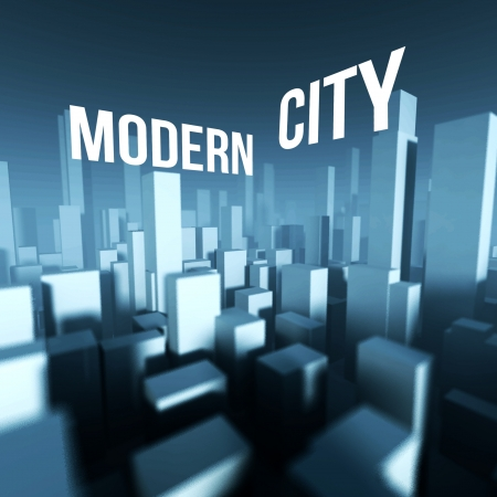 Modern city in 3d model of miniature town downtown, Architectural creative concept photo
