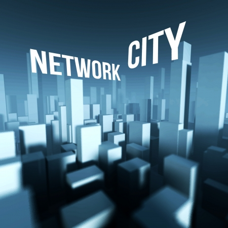 Network city in 3d model of miniature downtown, Architectural creative concept photo