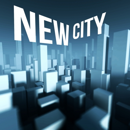 New city in 3d model of miniature downtown, Architectural creative concept photo