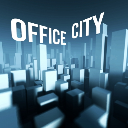 Office city in 3d model of miniature downtown, Architectural creative concept photo