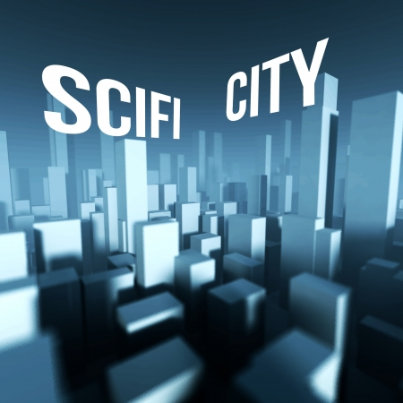 Scifi city in 3d model of miniature downtown, Architectural creative concept photo