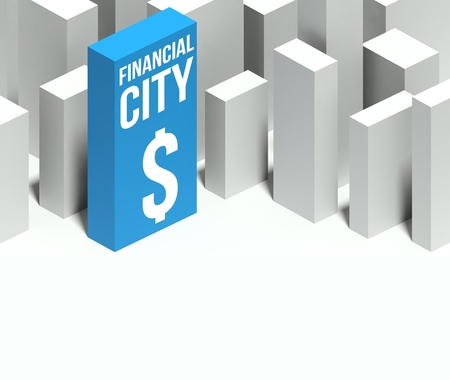 and distinctive: 3d financial city conceptual model of miniature downtown with distinctive skyscraper, Background and copyspace