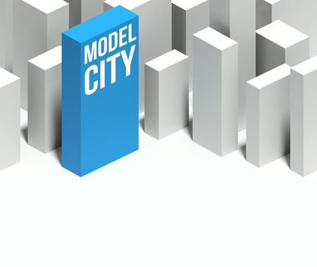 and distinctive: 3d model city conceptual miniature downtown with distinctive skyscraper, Background and copyspace Stock Photo