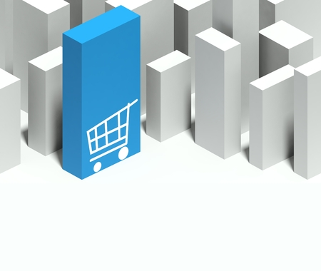 and distinctive: 3d shopping cart symbol in conceptual model of miniature city with distinctive skyscraper, Background and copyspace