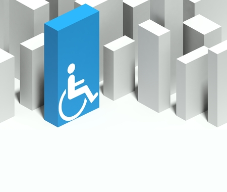 3d wheelchair symbol in conceptual model of miniature city with distinctive skyscraper, Background and copyspace Stock Photo