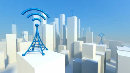 building a social network: 3d Wireless network in city with wifi tower, Creative concept of communication Stock Photo